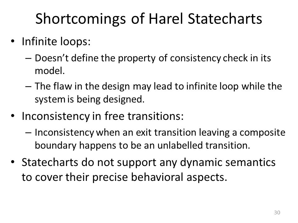 Shortcomings of Harel Statecharts
