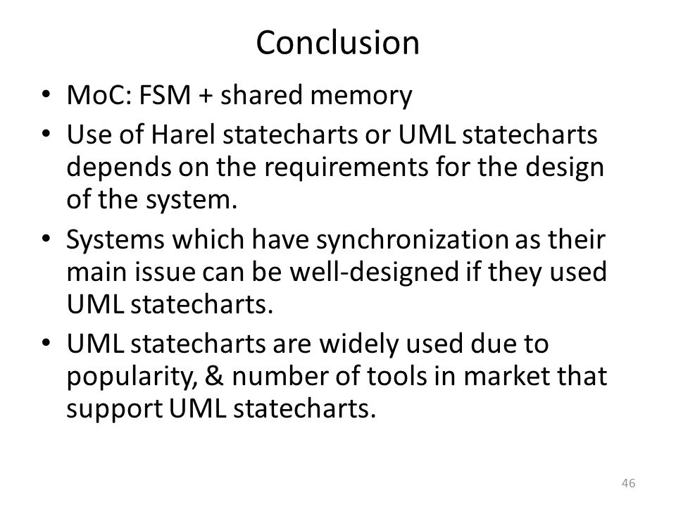 Conclusion MoC: FSM + shared memory