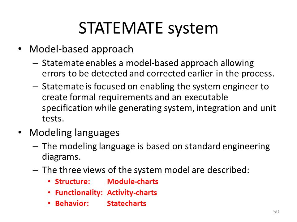 STATEMATE system Model-based approach Modeling languages