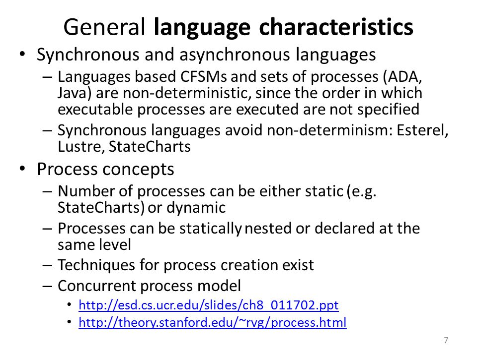 General language characteristics
