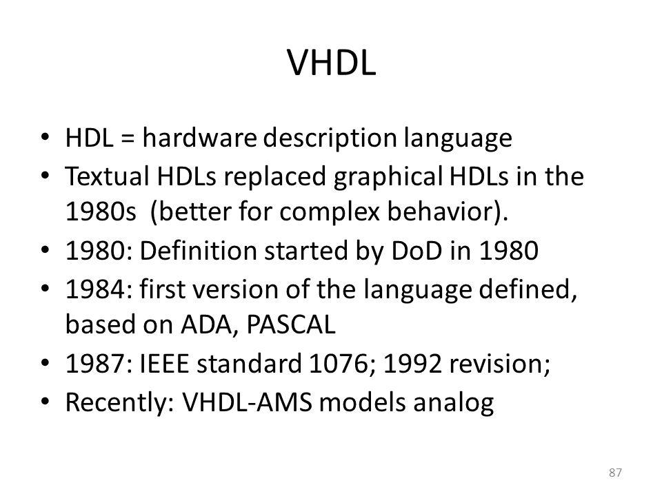 VHDL HDL = hardware description language