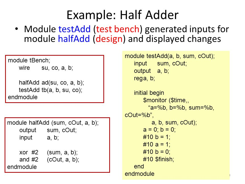Example: Half Adder Module testAdd (test bench) generated inputs for module halfAdd (design) and displayed changes.