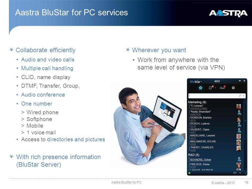 Aastra BluStar for PC services