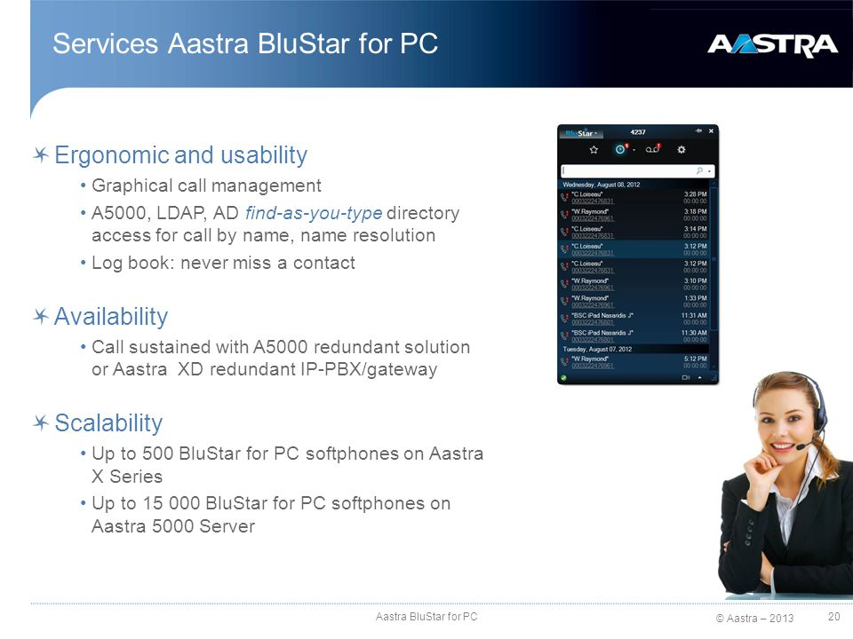 Services Aastra BluStar for PC