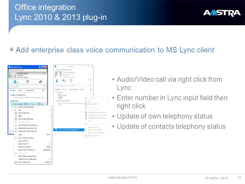Office integration Lync 2010 & 2013 plug-in