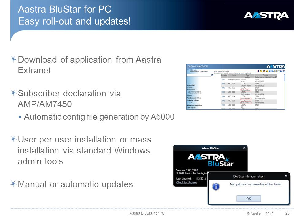 Aastra BluStar for PC Easy roll-out and updates!