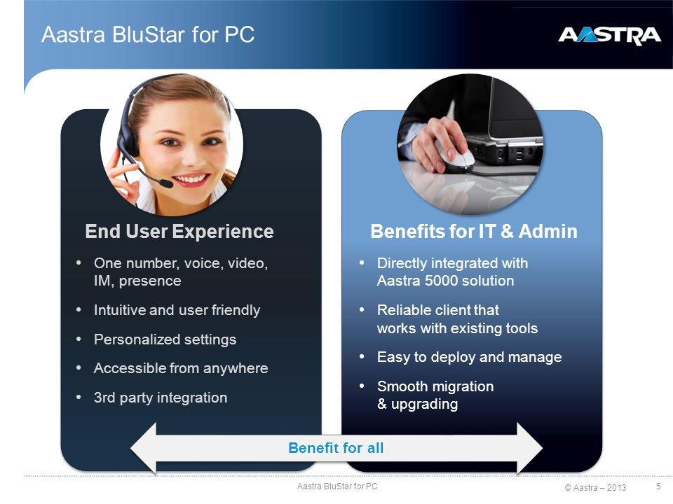 Aastra BluStar for PC End User Experience Benefits for IT & Admin