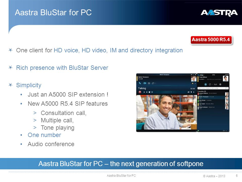 Aastra BluStar for PC – the next generation of softpone
