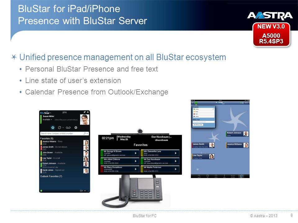 BluStar for iPad/iPhone Presence with BluStar Server