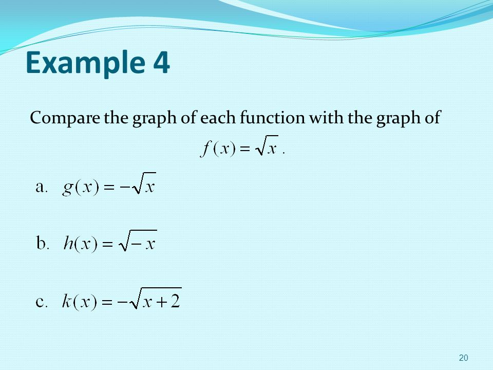 Example 4 Compare the graph of each function with the graph of