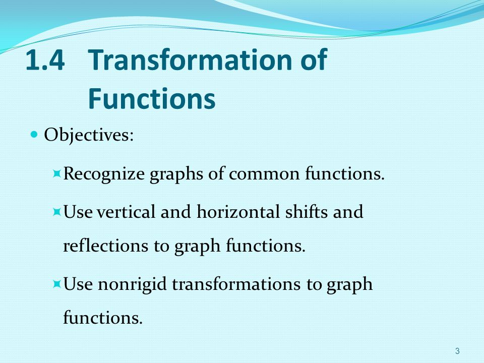 1.4 Transformation of Functions