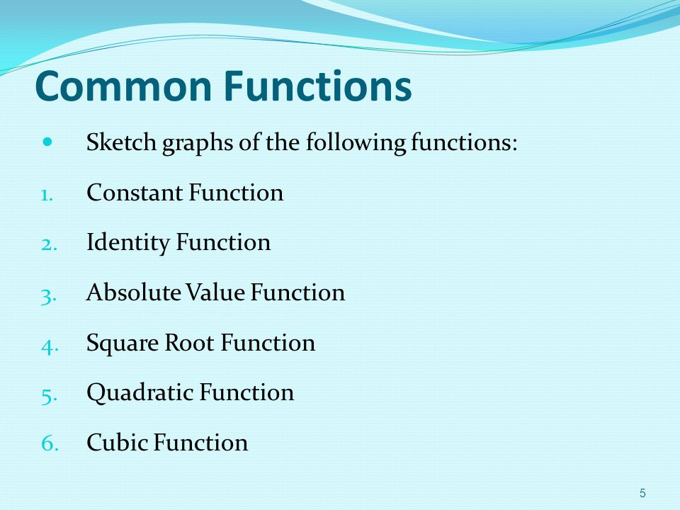 Common Functions Sketch graphs of the following functions:
