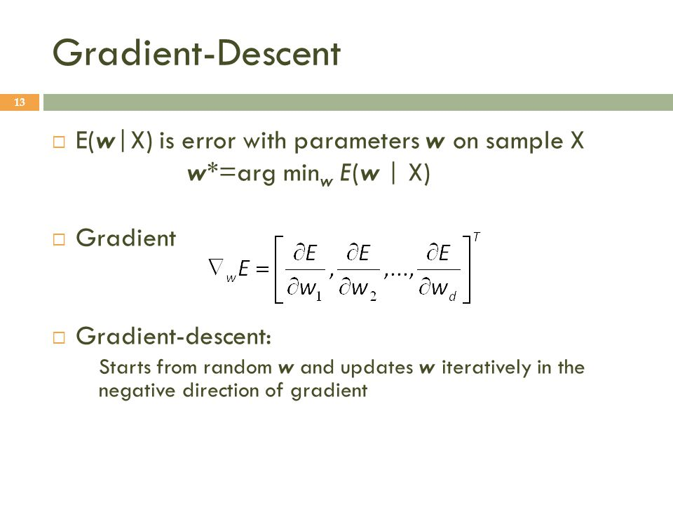 Gradient-Descent E(w|X) is error with parameters w on sample X