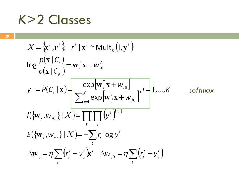 K>2 Classes softmax