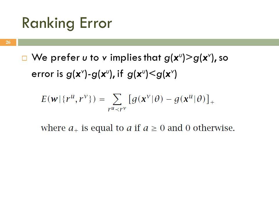 Ranking Error We prefer u to v implies that g(xu)>g(xv), so