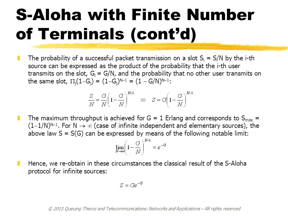 S-Aloha with Finite Number of Terminals (cont'd)