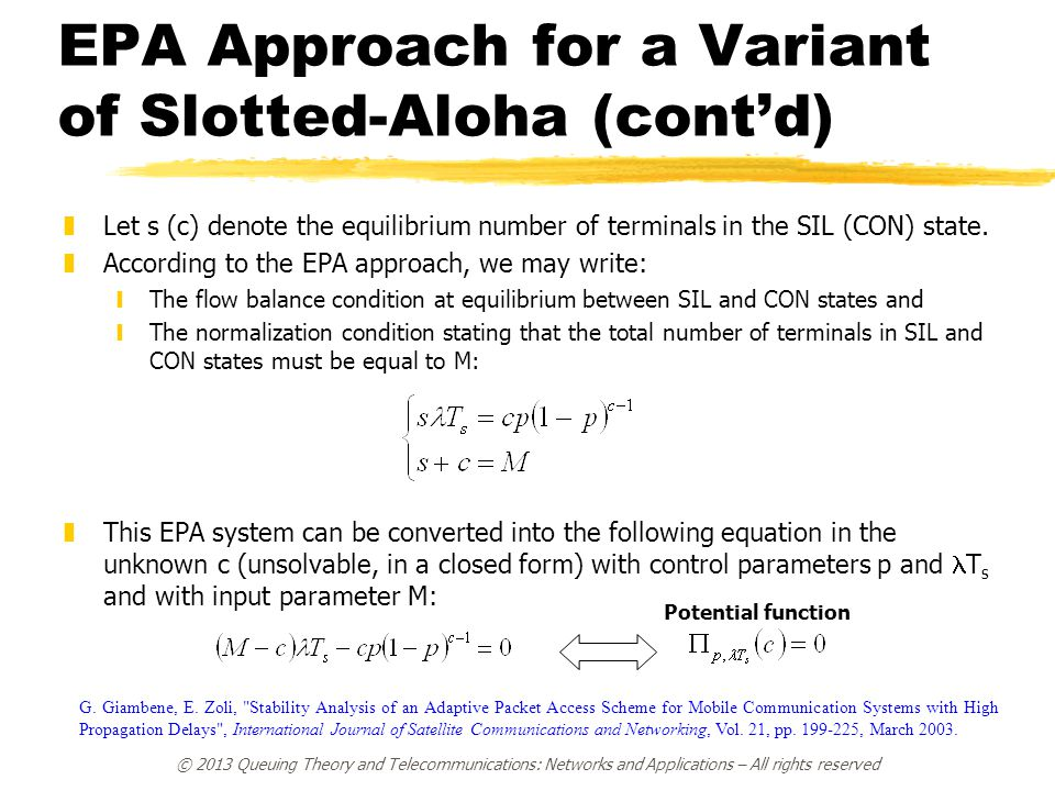 EPA Approach for a Variant of Slotted-Aloha (cont'd)
