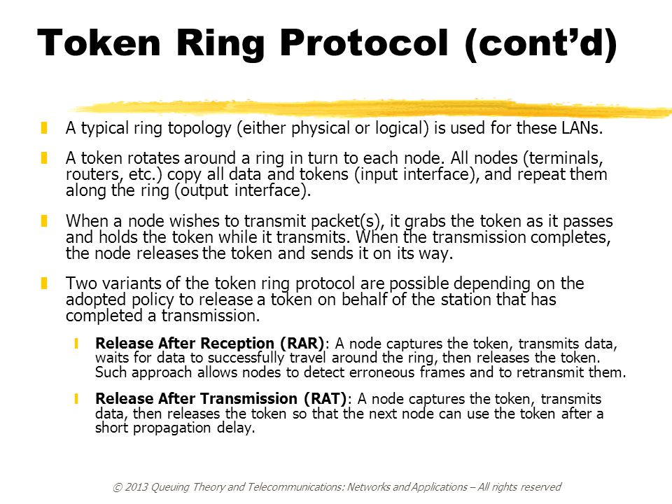 Token Ring Protocol (cont'd)
