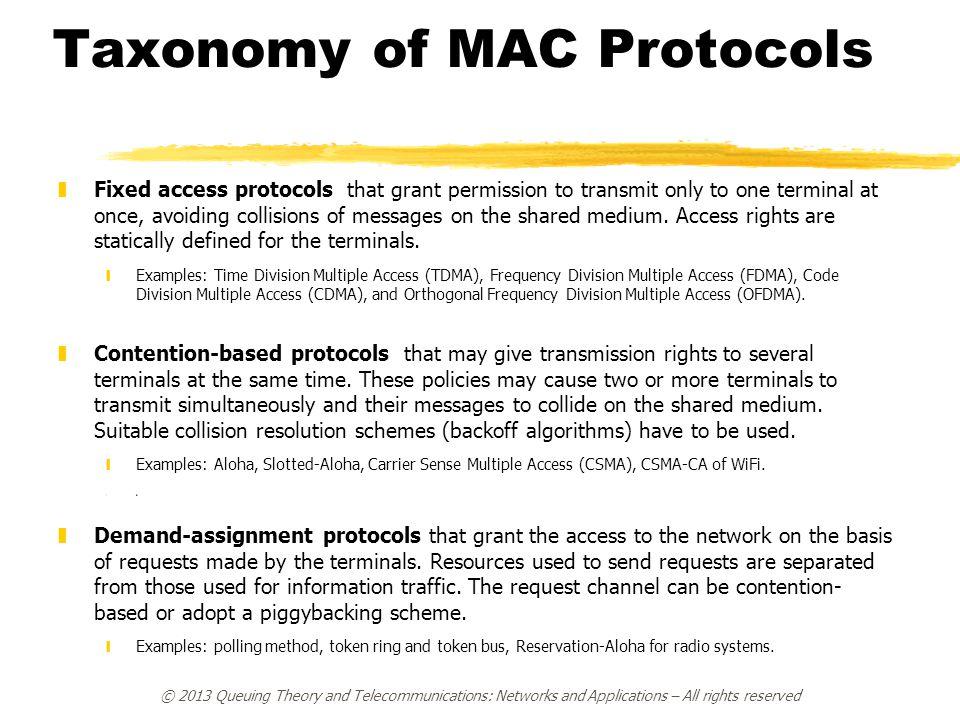 Taxonomy of MAC Protocols