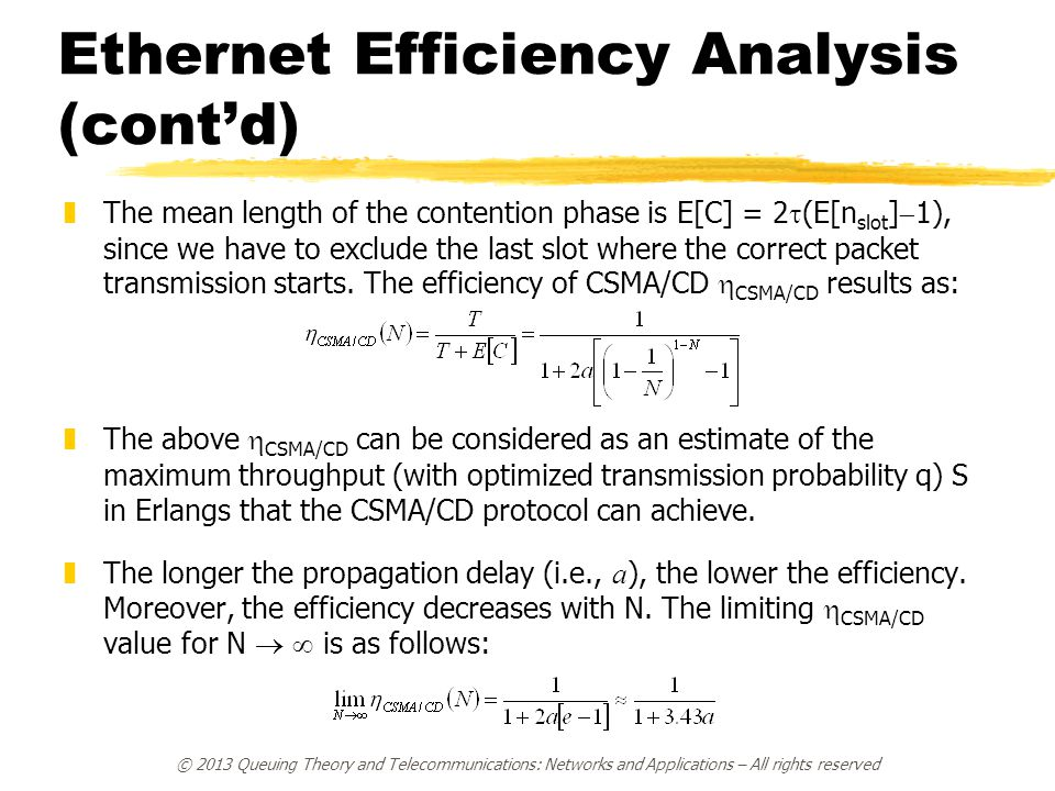 Ethernet Efficiency Analysis (cont'd)