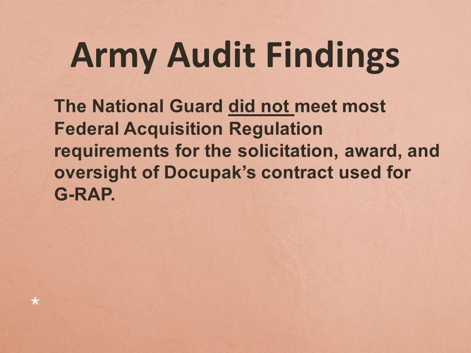 Army Audit Findings