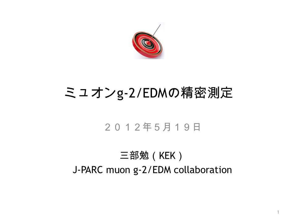 2012年5月19日 三部勉(KEK) J-PARC muon g-2/EDM collaboration