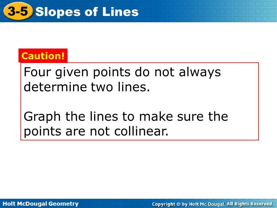 Four given points do not always determine two lines.