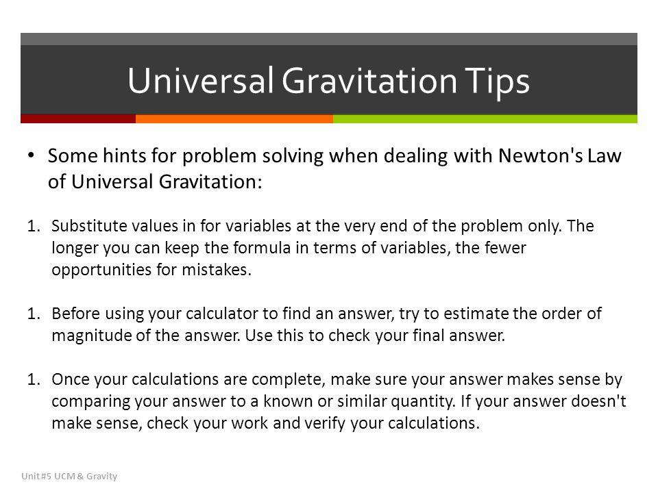 Universal Gravitation Tips