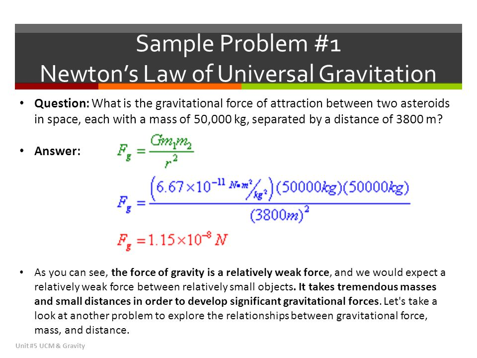 Sample Problem #1 Newton's Law of Universal Gravitation