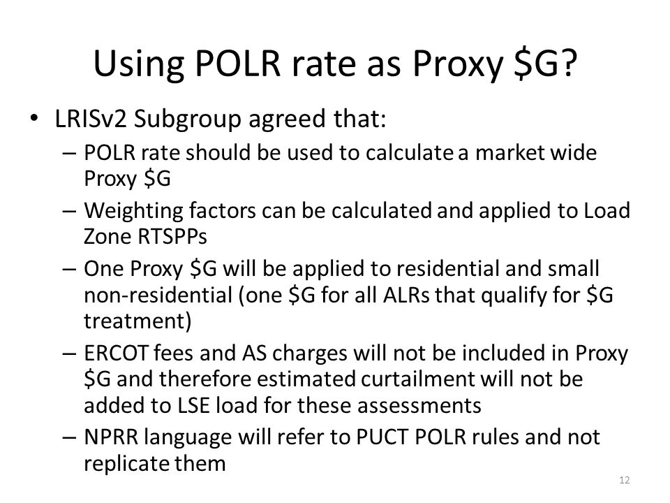 Using POLR rate as Proxy $G