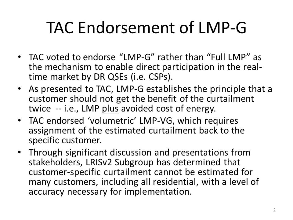TAC Endorsement of LMP-G