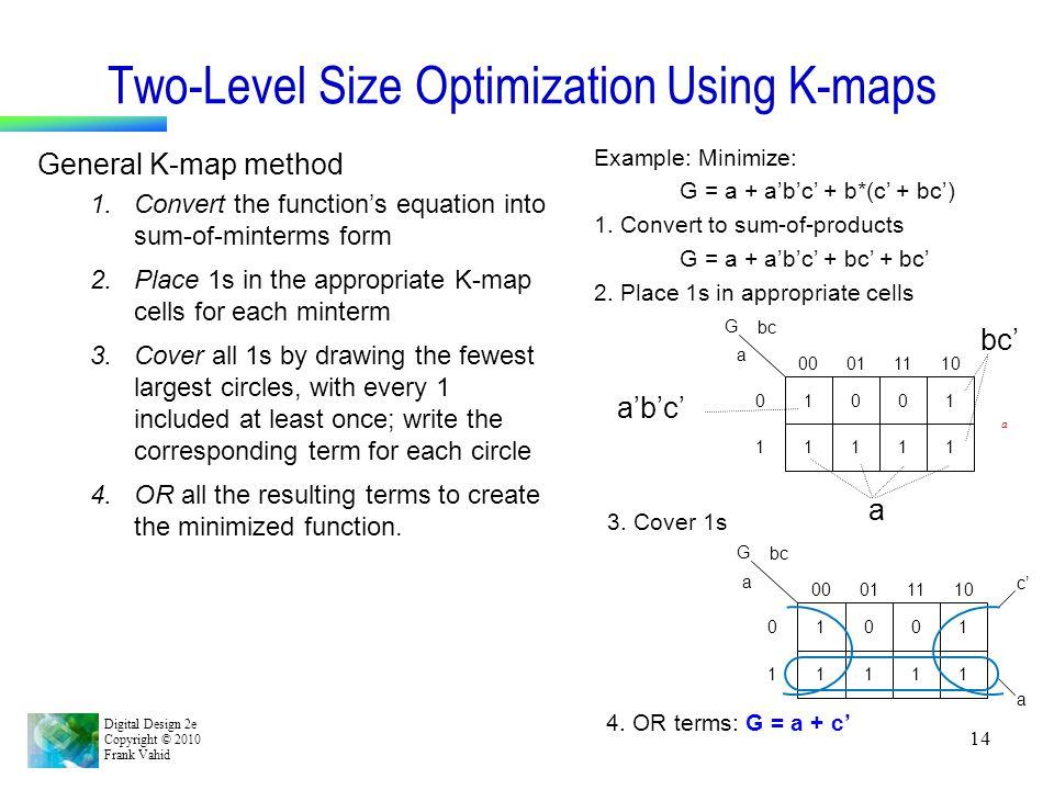 Two-Level Size Optimization Using K-maps