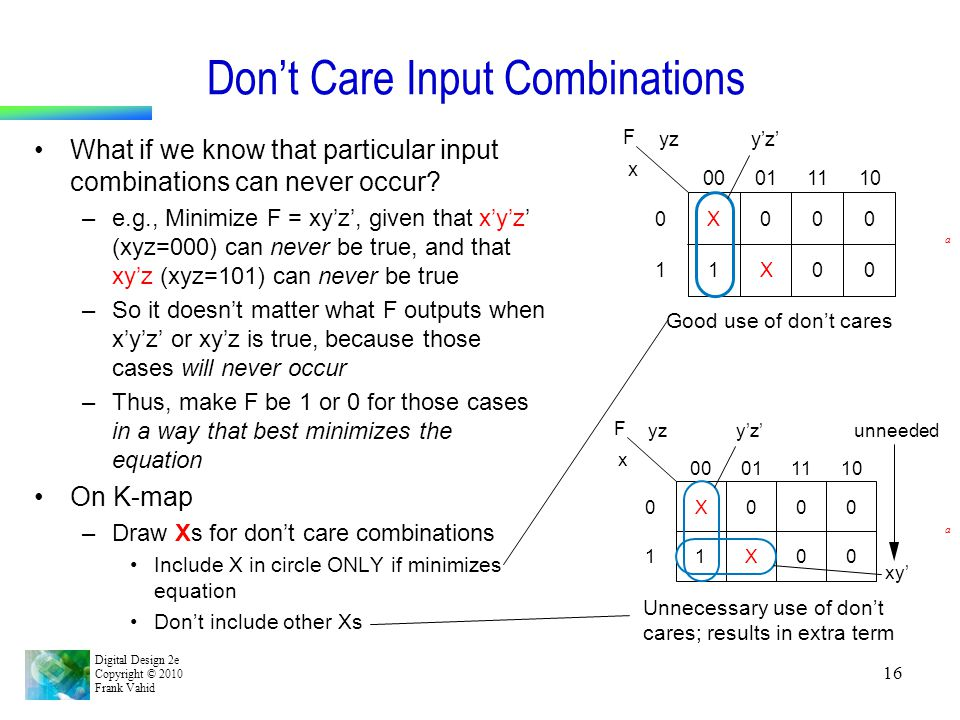 Don't Care Input Combinations