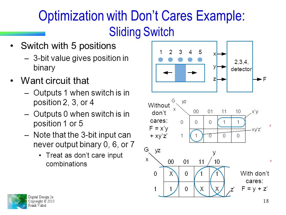 Optimization with Don't Cares Example: Sliding Switch