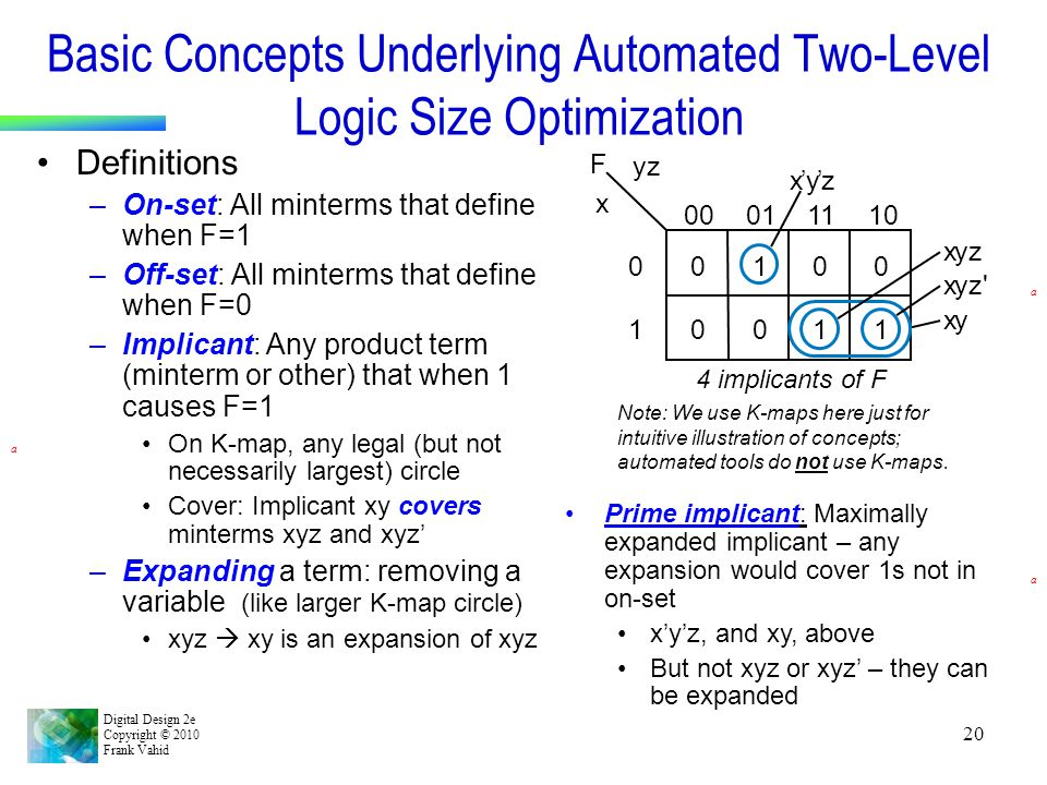 Basic Concepts Underlying Automated Two-Level Logic Size Optimization