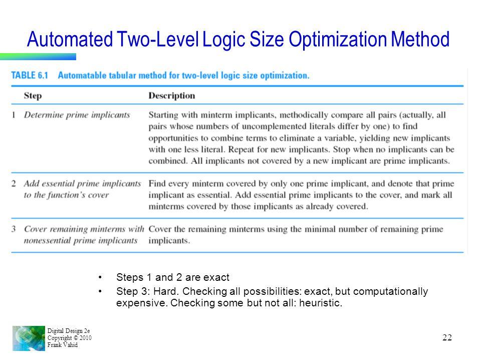Automated Two-Level Logic Size Optimization Method