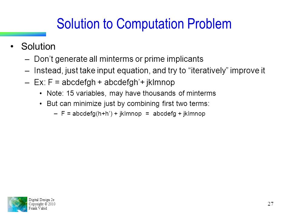 Solution to Computation Problem