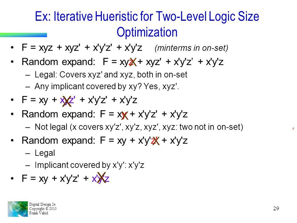 Ex: Iterative Hueristic for Two-Level Logic Size Optimization