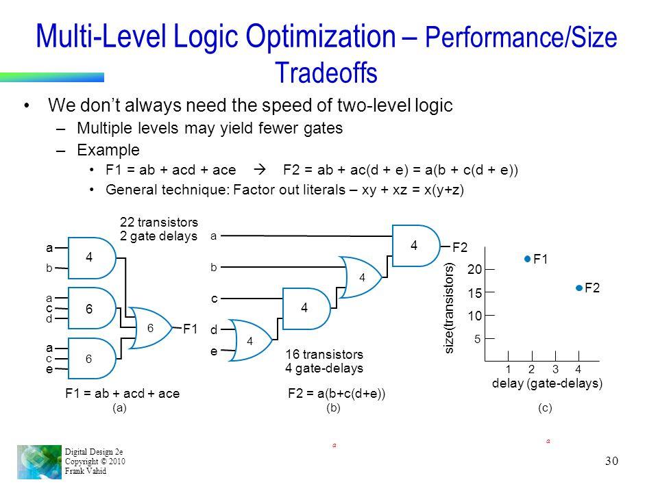Multi-Level Logic Optimization – Performance/Size Tradeoffs