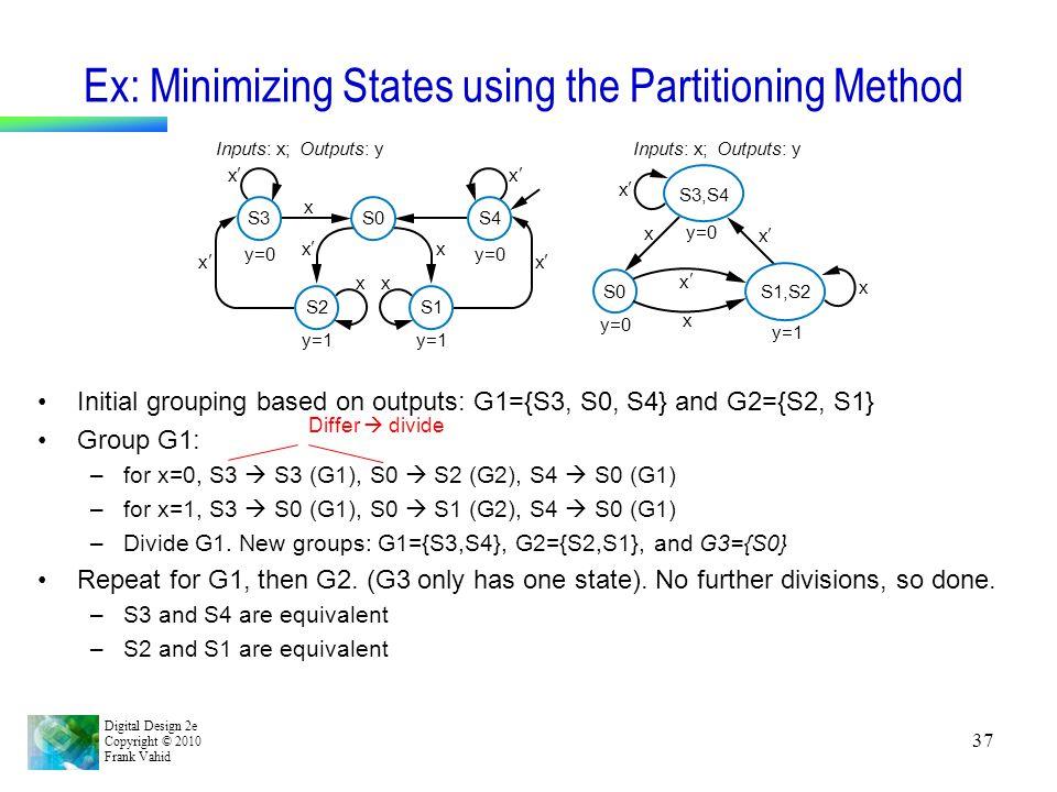 Ex: Minimizing States using the Partitioning Method