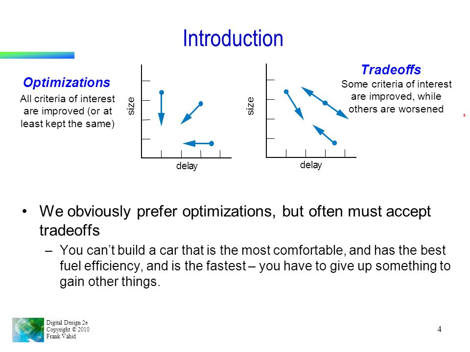 Introduction Tradeoffs. Optimizations. Some criteria of interest are improved, while others are worsened.