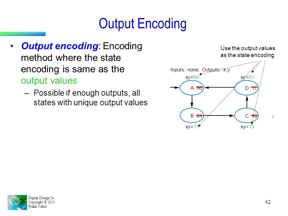 Output Encoding Output encoding: Encoding method where the state encoding is same as the output values.
