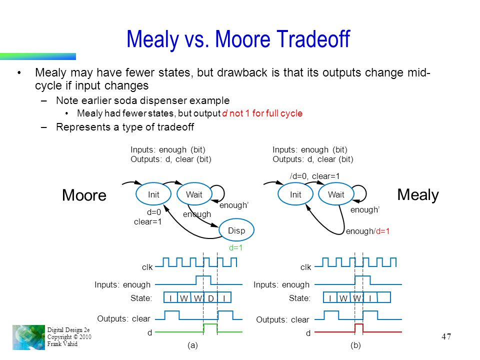 Mealy vs. Moore Tradeoff