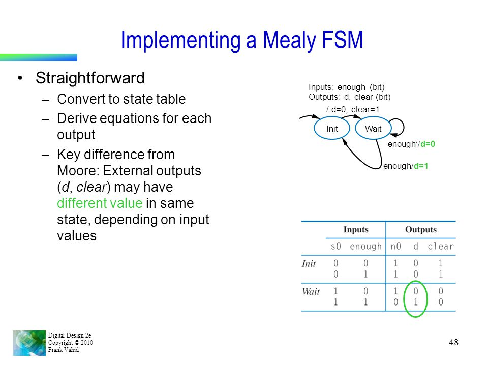 Implementing a Mealy FSM