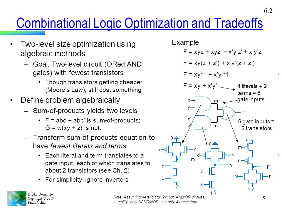 Combinational Logic Optimization and Tradeoffs