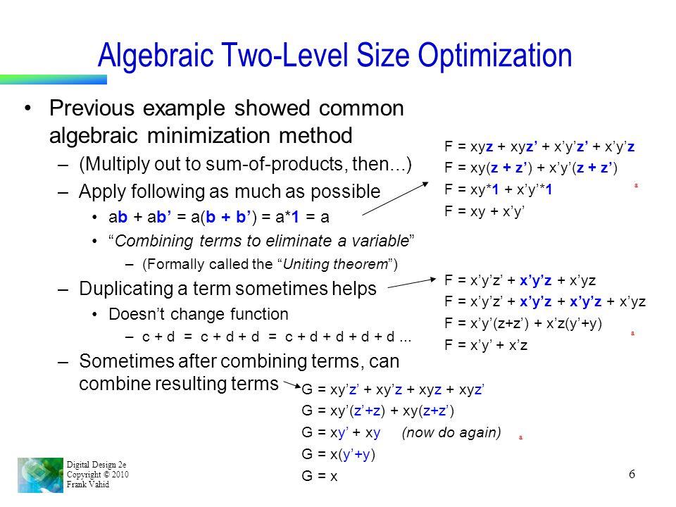 Algebraic Two-Level Size Optimization