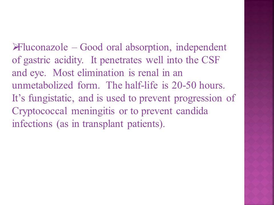 Fluconazole – Good oral absorption, independent of gastric acidity