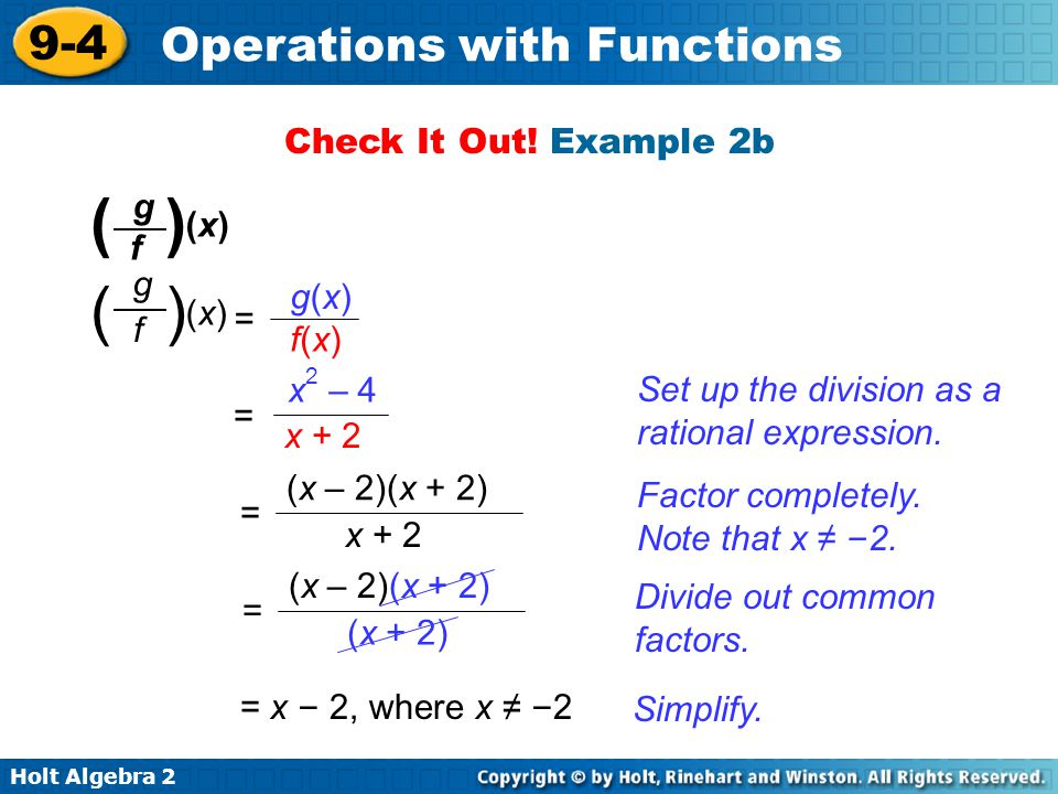 ( ) ( ) Check It Out! Example 2b (x) g f (x) g f g(x) f(x) = = x2 – 4
