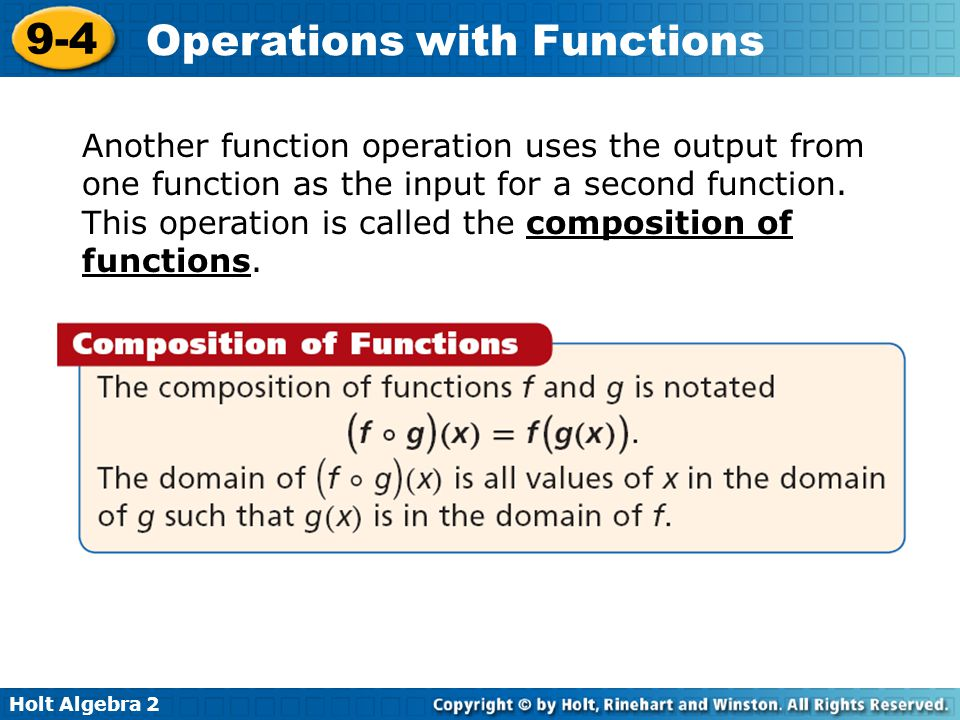 Another function operation uses the output from one function as the input for a second function.