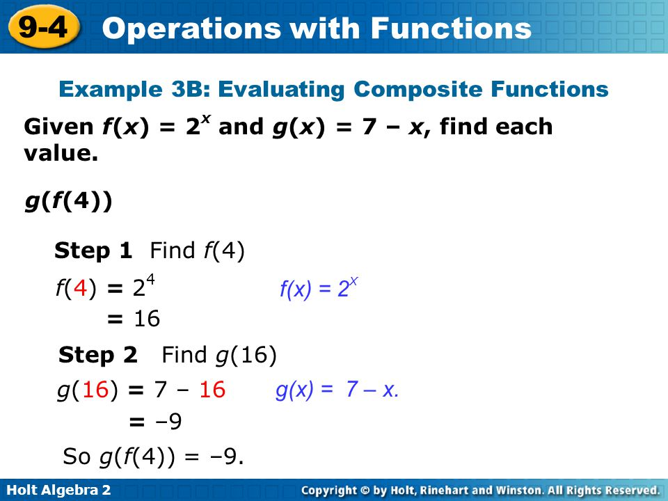 Example 3B: Evaluating Composite Functions